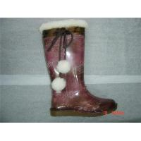 China lady rain boots with wool on sale