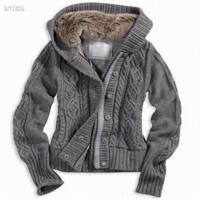 China Jacquard women cardigan sweater with hat wholesale