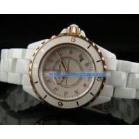 Buy cheap Ledavci Chronograph Quartz Movement Full White Ceramic with Rose Gold Bezel and Diamond Markers from wholesalers