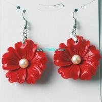 Buy cheap CoralcarvedFlowerEarringPair from wholesalers
