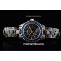 Buy cheap Chiyar Quartz Movement Full Black Ceramic with Blue Diamond Bezel and Black Dial from wholesalers