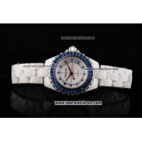 Buy cheap Chiyar Quartz Movement Full White Ceramic with Blue Diamond Bezel and Blue/Clear Diamond Dial from wholesalers