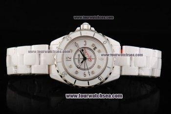 China Chiyar Quartz Movement Full White Ceramic with White Dial and Numeral/Diamond Markers