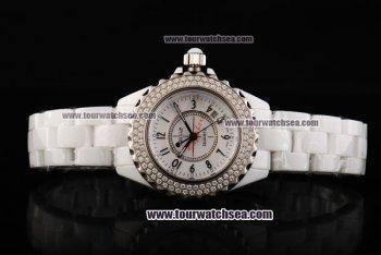 China Chiyar Quartz Movement Full White Ceramic with Diamond Bezel and White Dial