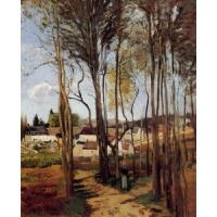 China Impressionist(3830) A_Village_through_the_Trees wholesale