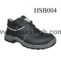 China Hotselling Product black leather safety work shoes with white reflective strip wholesale