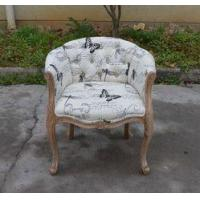 China Hot Sale Linen Fabric Button Tufted Accent wooden Chair Upholstered Tub Chair on sale