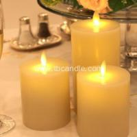 Buy cheap real wax electic moving flame flat top flameless cancdles with timer from wholesalers