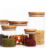 China different size clear round glass Jar with bamboo lid wholesale