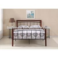 China Wood Legs Black Double Metal Frame Bed wholesale
