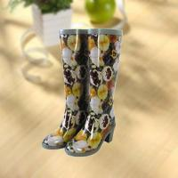 China Sexy lady flower vase printing rubber rain boot wholesale
