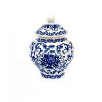 China Ancient Chinese Style Blue and White Porcelain Tea Storage Helmet-shaped Temple Jar wholesale