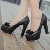 China Shoespie Cute Bowtie Chunky Heel Platform Heels wholesale