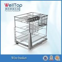 China Steel wire kitchen cabinet sliding wire pull-out basket wholesale