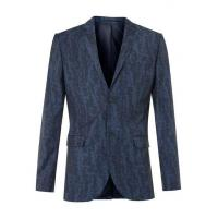 China Blue Wool Blend Abstract Print Skinny Fit Suit Jacket wholesale