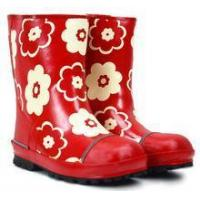 China non-slip high quality ladies red rubber rain boot with flower pattern on sale