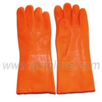 China Orange Fluorescent PVC Coated Work Gloves For Winter, Sandy Palm on sale