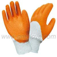 China Orange Rubber Coated Work Gloves, Cotton Knitted Wrist wholesale