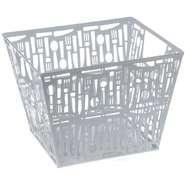 """China Cutlery Punched Metal Large Storage Basket White 10 3/8""""L x 10 1/4""""W x 6 1/4""""H wholesale"""