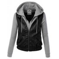 China Womens Faux Leather Motorcycle Jacket With Hoodie wholesale