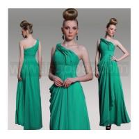 China New Style Green One Shoulder Sleeveless Prom Dress, Evening dress With Beaded & Pleat on sale