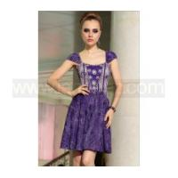 China A line off shoulder short sleeves purple lace prom dress Europe retro royal wholesale