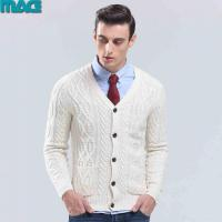 China Men men winter cable white cardigan sweater on sale