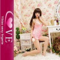 China Sexy Girl Embroidery Lingerie Lace Pink Nightwear Babydoll wholesale