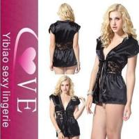 China good quality lace splicing stain nighty Turkish lingerie sexy babydoll wholesale