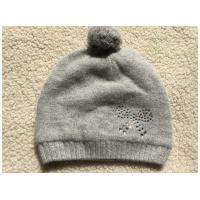 China Magid Gray Knit Beanie Hat Pompom And Rhinestone wholesale