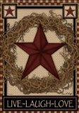 China Christmas Garlands Country Primitive Barn Star Wreath Live Laugh Love Double Sided Garden Flag wholesale