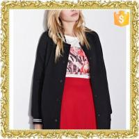 plain black solid colour stand collar buttons up jacket for women with pocket