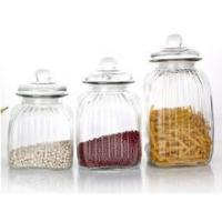China Glass food kitchen storage container/ jar/bottle/ with glass lid sealed on sale