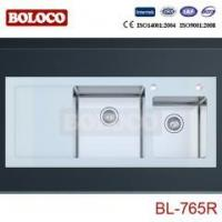 China glass kitchen sink BL-765R on sale
