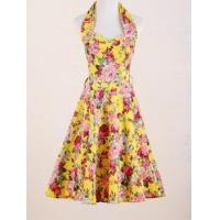 China pin up retro design wholesale yellow floral prom dress 2016 manufacturer from China wholesale