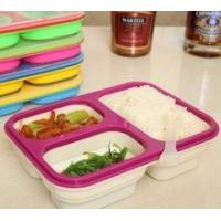 China Food grade Microwave Safe 3 Compartment Folding Silicone Lunch Box on sale