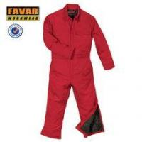 China Red cotton winter insulated coverall warmable worker uniform wholesale