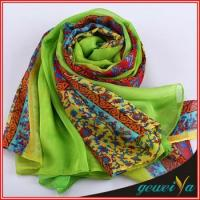 China Gradient Green Flower Chiffon Printed Shawl wholesale