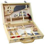 China Wooden toys Tool box, 8 pieces, popular in Europe, DIY toy for 8 years up, be a wood carpenter wholesale