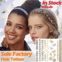 Buy cheap Wholesale metallic gold and silver hair tattoo sticker hair accessories manufact from wholesalers
