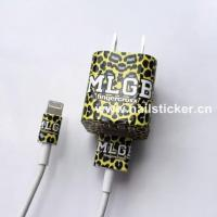 China Custom DIY leopard vinyl iPhone charger sticker wrap charger identification stic wholesale