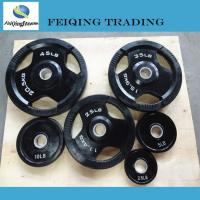 China 1. Weight plate& rack FQ1004-3 3grips black rubber coated bumper plate wholesale