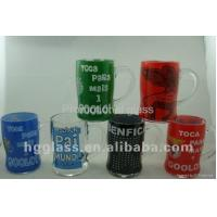 China printed glass cup&mug 380ml clear beer stein glass mug with bell on sale