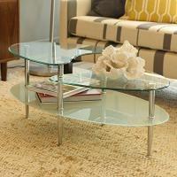 China Walker Edison Glass Metal Oval Coffee Table wholesale