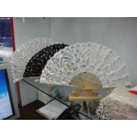 China handmade embroidery lace bamboo wedding hand fans wholesale