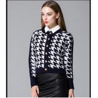 China Shirt Long sleeve winter women cardigan Houndstooth sweater with buttons wholesale