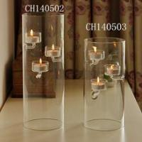 China Tall cylinder shaped glass candle holder in home decoration wholesale