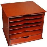 China Five-Shelf Desktop Organizer with Drawer - Cherry wholesale