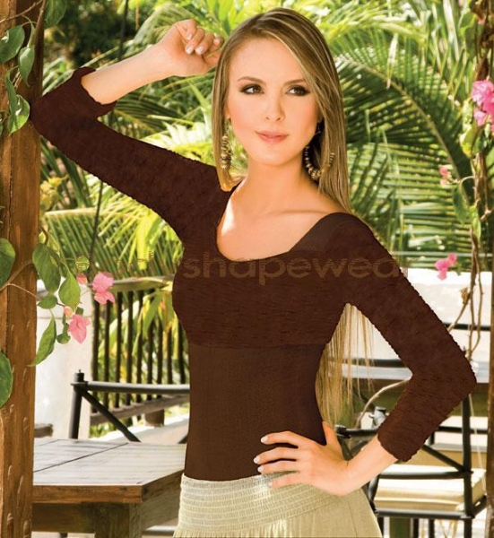 Quality body9010Patty long sleeves body shaper thong bodysuit for sale