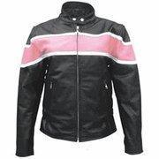China Ladies Pink & Black Buffalo Leather Jacket with Zip-out Lining - XSizes S to 3XL wholesale